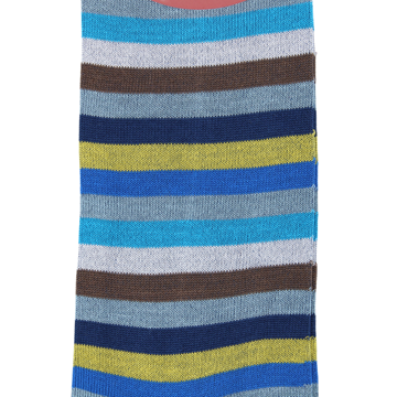Marcoliani Milano blue, yellow, brown and aqua horizontal striped cotton blend socks