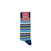 Marcoliani Milano blue, yellow, brown and aqua horizontal striped cotton blend socks