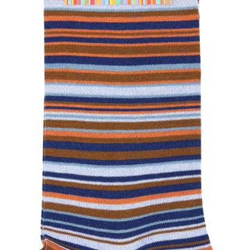 Marcoliani Milano orange, brown and navy multi striped cotton blend socks