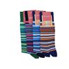 Marcoliani Milano orange, brown and navy multi striped cotton blend socks