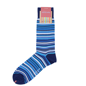 Marcoliani Milano navy, blue and aqua multi striped cotton blend socks
