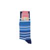 Marcoliani Milano navy, blue and aqua multi striped cotton blend socks
