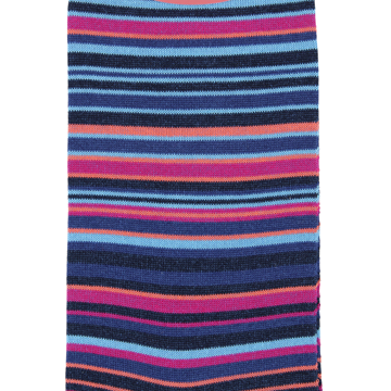 Marcoliani Milano navy, fuschia and aqua multi striped cotton blend socks