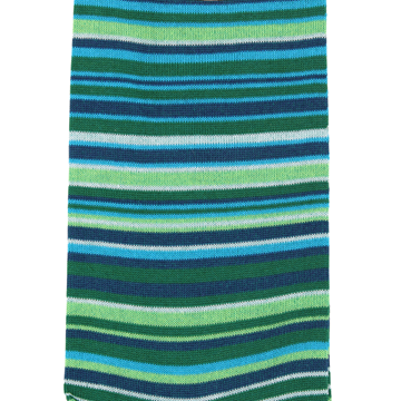 Marcoliani Milano green, aqua and navy multi striped cotton blend socks
