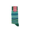 Marcoliani Milano green, aqua and navy multi striped cotton blend socks