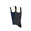 Marcoliani Milanonavy and dark blue striped cashmere blend socks