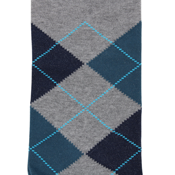 Marcoliani Milanon grey, navy, teal and aqua argyle cotton blend socks