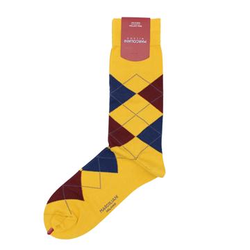 Marcoliani Milanon mustard, brown navy argyle cotton blend socks