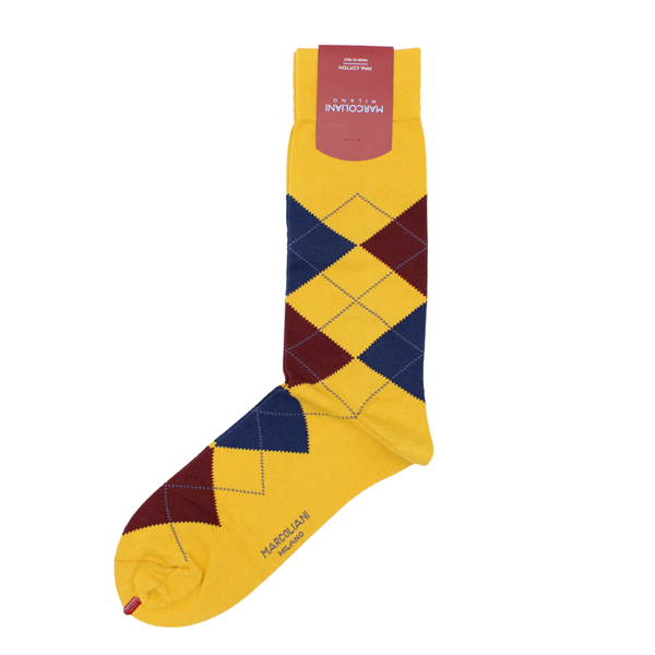 Marcoliani Milanon mustard, brown navy argyle cotton blend socks