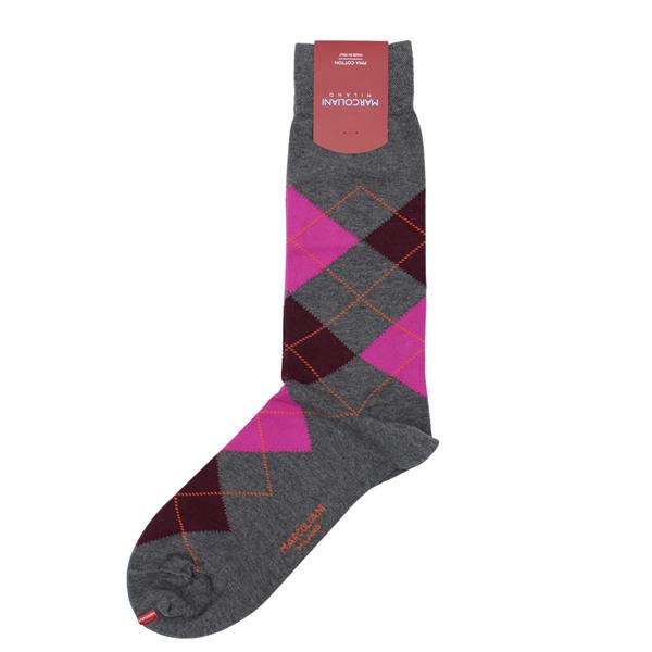 Marcoliani Milanon grey, fuschia, burgundy and orange argyle cotton blend socks