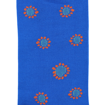 Marcoliani Milano blue and orange sunflower cotton blend socks