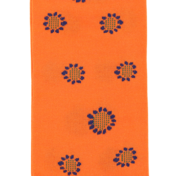 Marcoliani Milano orange and navy sunflower cotton blend socks