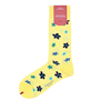 Marcoliani Milano yellow, navy and aqua floral cotton blend socks