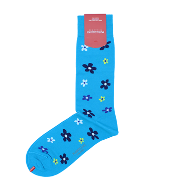 Marcoliani Milano aqua, navy and yellow floral cotton blend socks