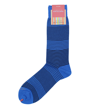 Marcoliani Milano navy and blue horizontal striped cotton blend socks
