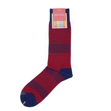 Marcoliani Milano navy and red horizontal striped cotton blend socks