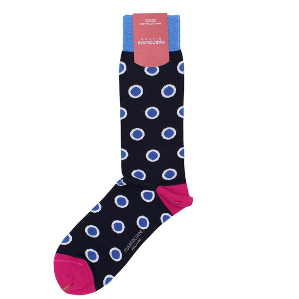 Marcoliani Milano big dots navy, blue, white and fuschia cotton blend socks