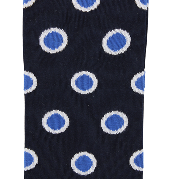 Marcoliani Milano big dots navy, blue, white and fuschia cotton blend socks