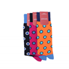 Marcoliani Milano big dots fuschia, navy and blue cotton blend socks