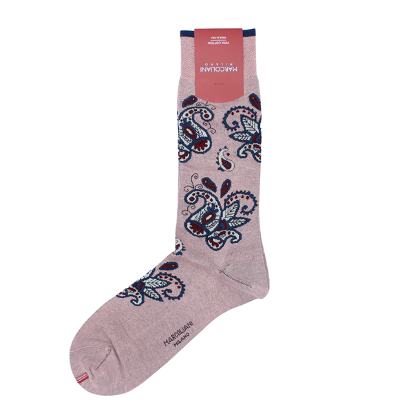 Marcoliani Milano pink, navy, burgundy and light grey cotton blend socks