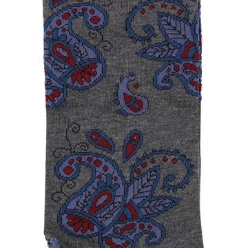 Marcoliani Milano grey, blue, burgundy paisley cotton blend socks