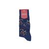 Marcoliani Milano denim blue, navy, orange and light blue paisley cotton blend socks
