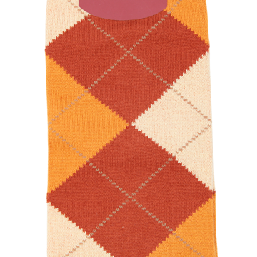 Marcoliani Milanonorange, mustard and beige argyle cotton blend socks