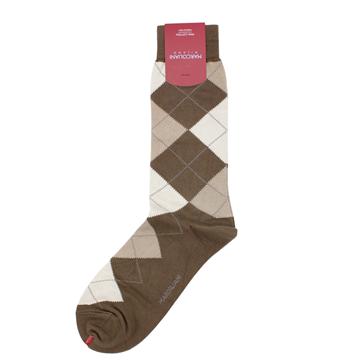 Marcoliani Milano khaki and beige argyle cotton blend socks