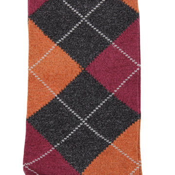 Marcoliani Milano charcoal, orange and burgundy argyle cotton blend socks