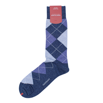 Marcoliani Milano denim blue, light blue royal blue argyle cotton blend socks