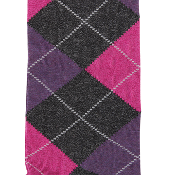 Marcoliani Milano charcoal, fuschia and purple argyle cotton blend socks
