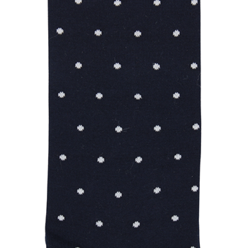 Marcoliani Milano white on navy polka dots cotton socks