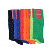 Marcoliani Milano royal blue on green polka dots cotton socks