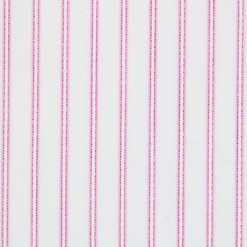 Fuscia on White Satin Pinstripes shirt fabric - T224