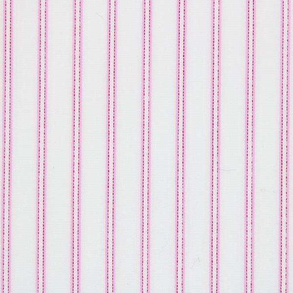 Fuscia on White Satin Pinstripes shirt fabric - T224