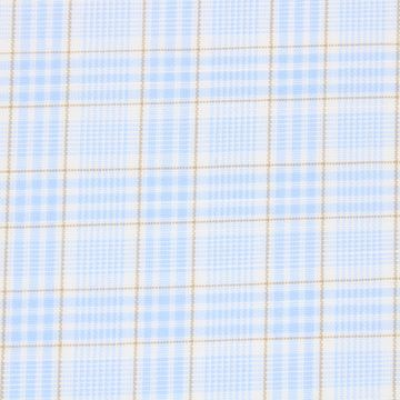 Avellino Blue and Brown Checks on White A1144