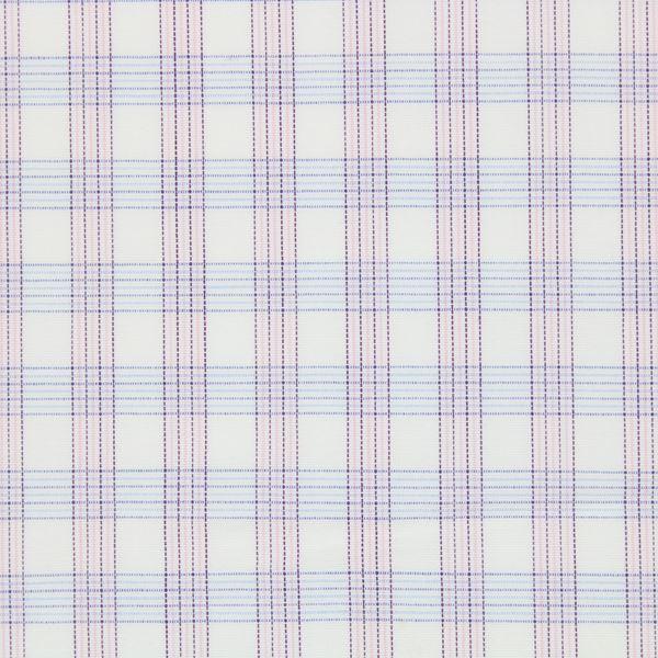 Pink and Blue checks on White shirt fabric G172