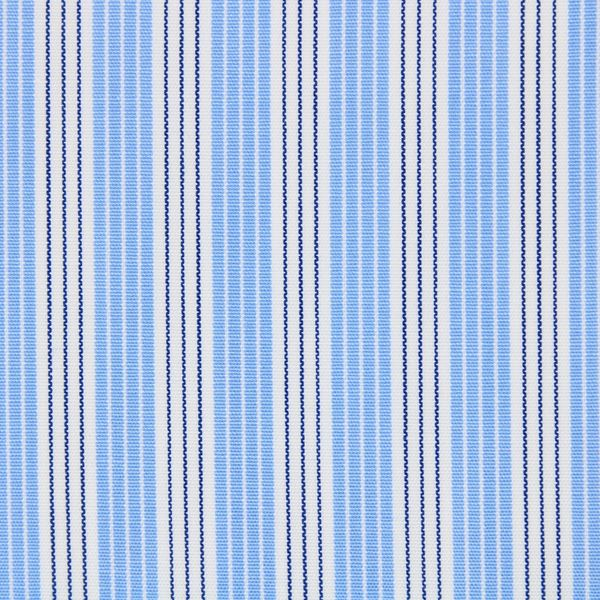 Blue, Navy and White Stripes shirt fabric T174