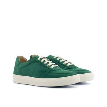 Custom sneakers low top trainers 4178 green suede