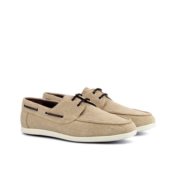 Custom boat shoes 4189 beige linen