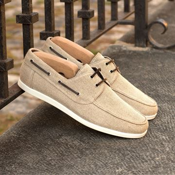 Custom boat shoes 4189 beige linen