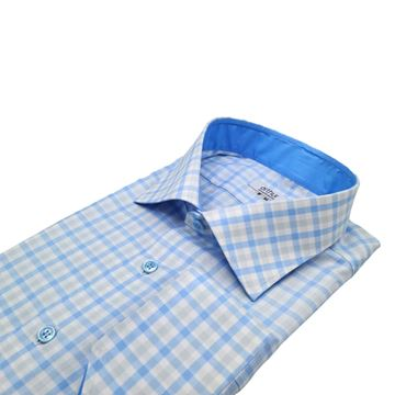 Large Grey and Blue Checks on White shirt fabric G213